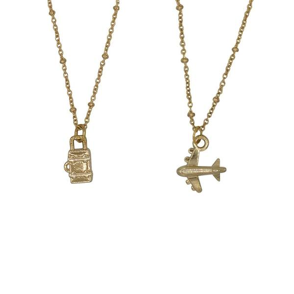 A la Friendship Necklace Airplane Suitcase