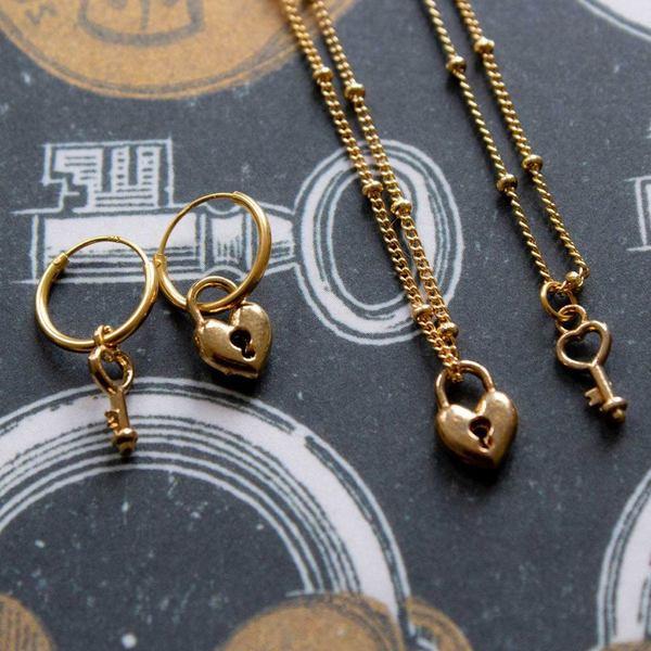 A La Friendship Necklace Lock Key 2