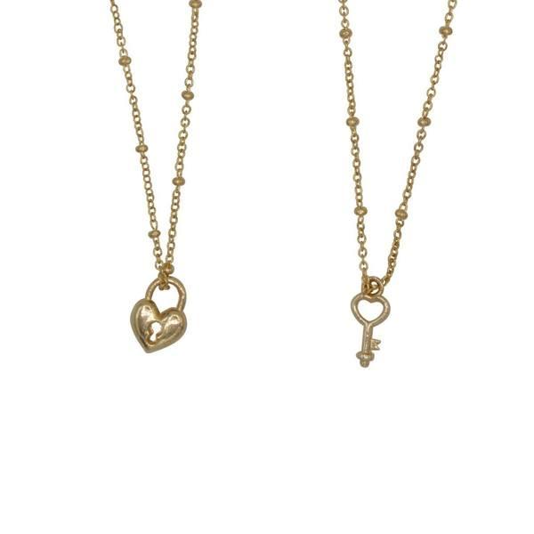 A La Friendship Necklace Lock Key