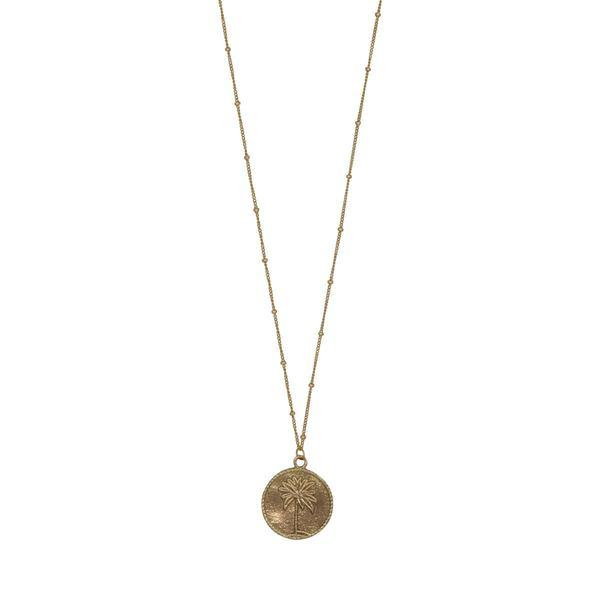 À la Palmtree Big Coin Necklace