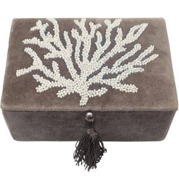 A la Velvet sieradendoos met koraal zilver/grijs