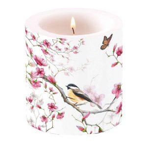 Ambiente kaars Bird & Blossom wit klein