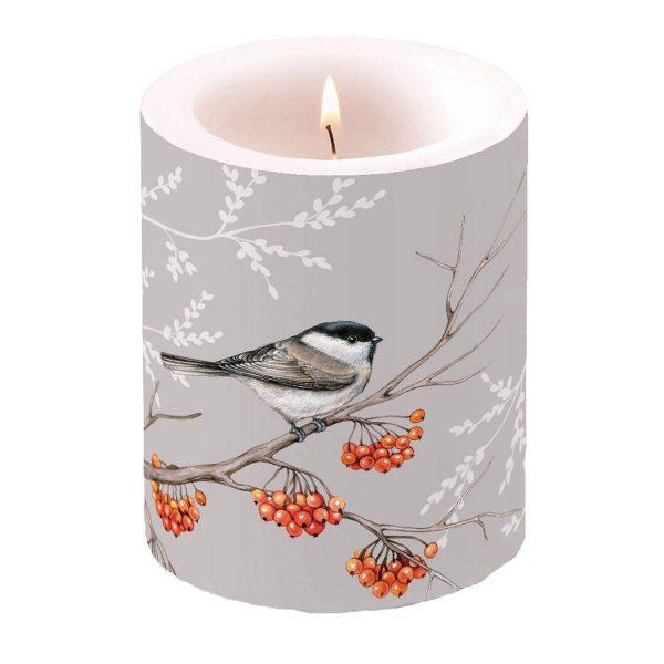 Ambiente kaars Bird On Branch grijs groot