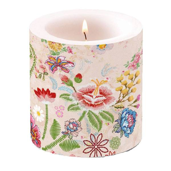 Ambiente kaars Embroidery Flowers Rose