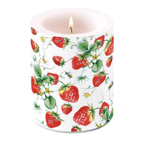 Ambiente kaars Strawberries All Over Wit groot