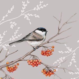 Ambiente servetten Bird On Branch grijs