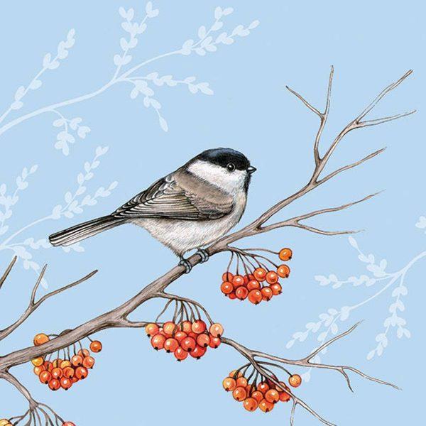Ambiente servetten Bird on Branch blauw