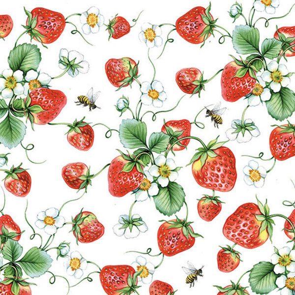Ambiente servetten Strawberries All Over Wit