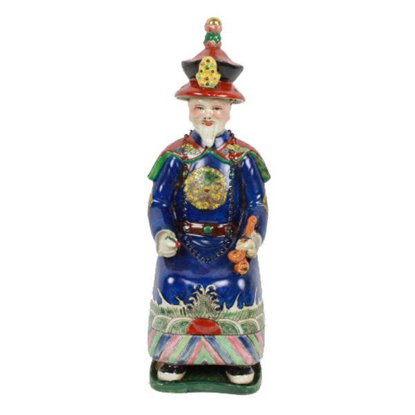 Porseleinen beeld keizer blauw zittend