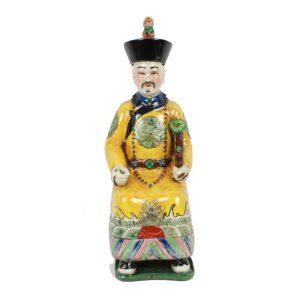 Porseleinen beeld keizer geel zittend