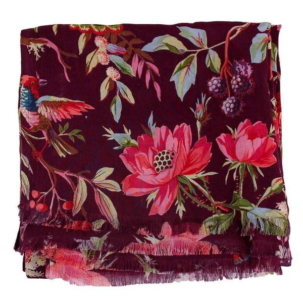Sjaal Paradise print Bordeaux / Paars gevouwen