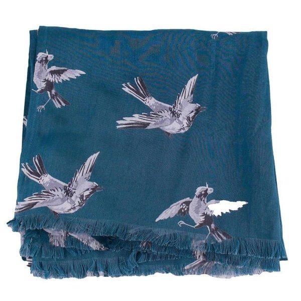 sjaal Swinging bird blauw opgevouwen