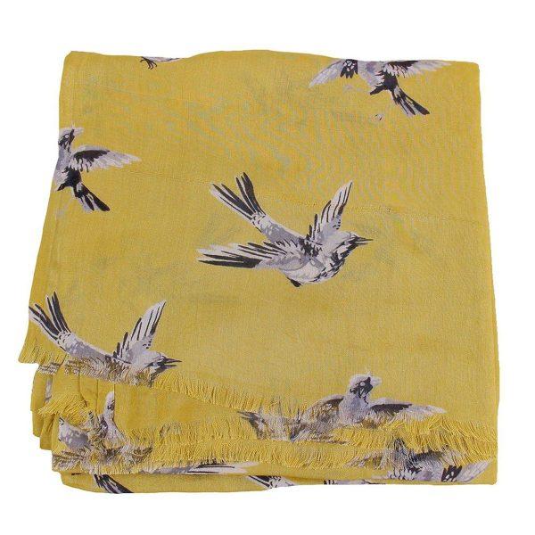 Sjaal Swinging bird ocre opgevouwen