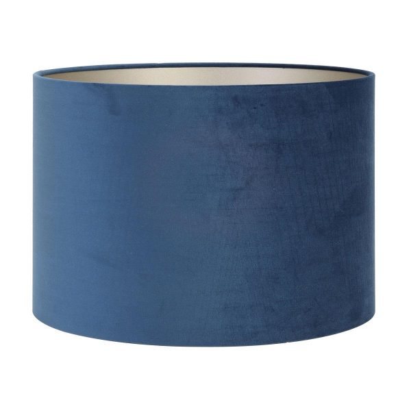 Light & Living lampenkap velours Petrol Blue cilinder (22-22-27 cm)