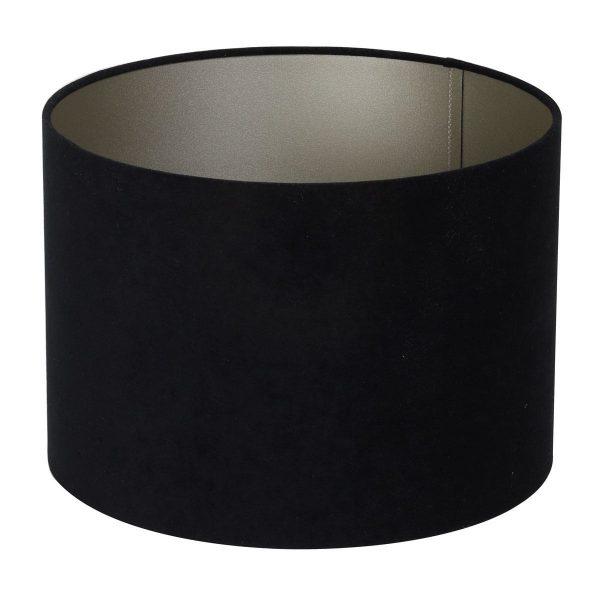 Light & Living lampenkap velours zwart-taupe cilinder (25-25-18 cm) c