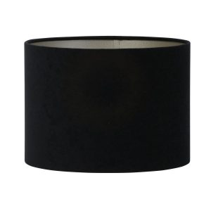 Light & Living lampenkap velours zwart-taupe cilinder (25-25-18 cm)