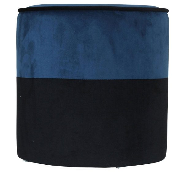 Opjet poef Match Zwart en Blue Canard