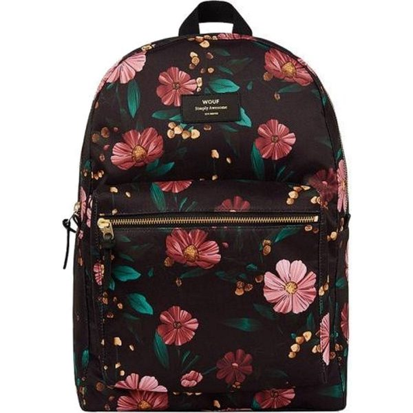 Wouf Black Flowers Backpack
