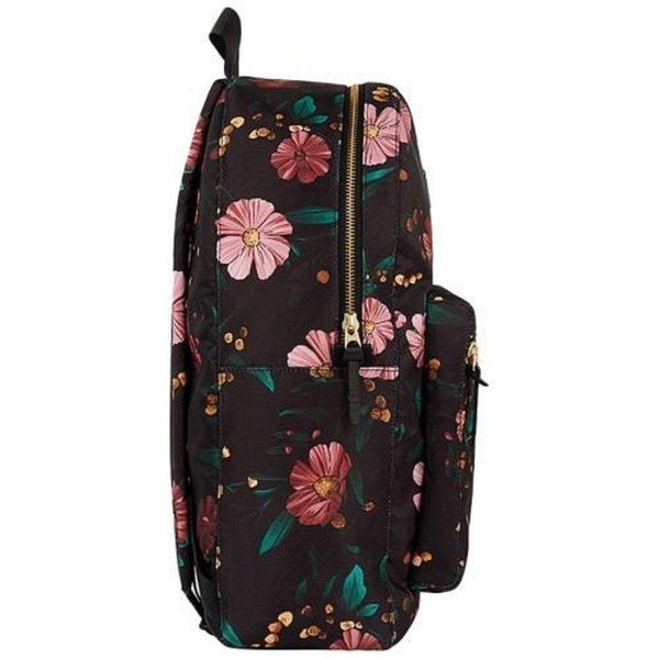 Black Flowers Backpack zijkant