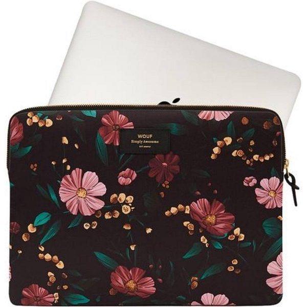 """Black Flowers Laptophoes 13"""" macbook"""