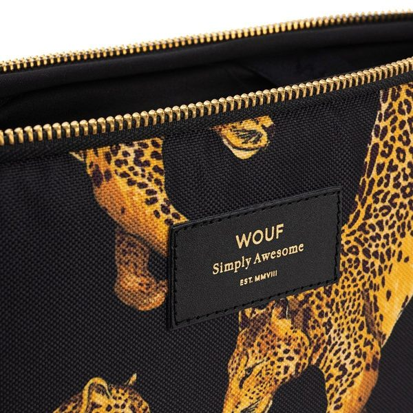 """Wouf Black Leopard Laptophoes 15"""" rits"""