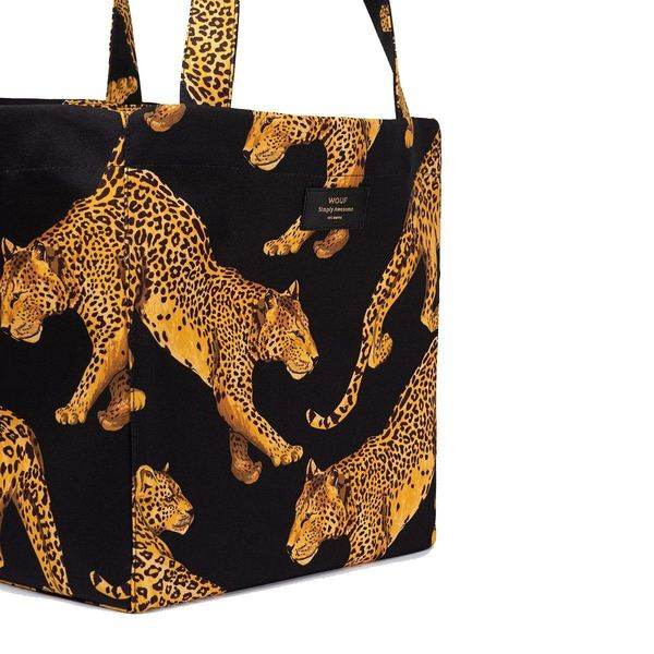 Wouf Black Leopard Totebag XL detail