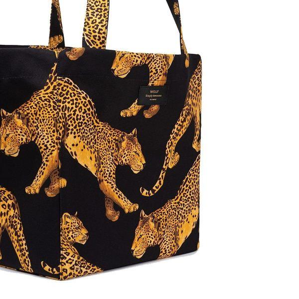Wouf Black Leopard Totebag XL detail