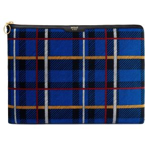Wouf Blue Tartan Velvet Laptophoes 13 inch