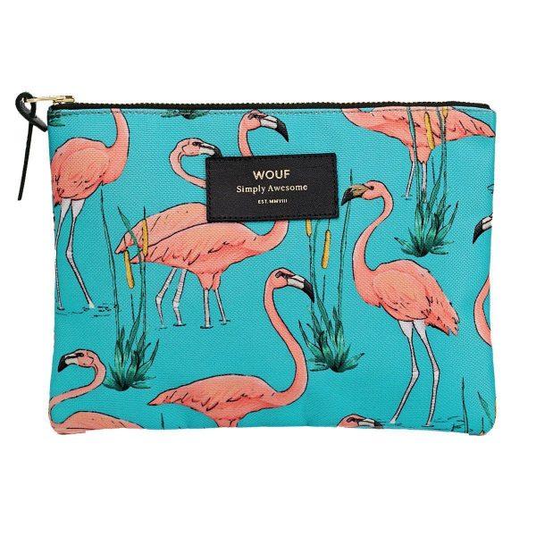 wouf pink flamingos make-up tas