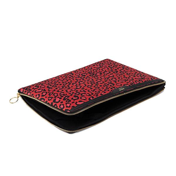 """WOUF Red Leopard Laptophoes 13"""" rits"""