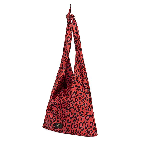 WOUF Red Leopard Satin Tote lopsided