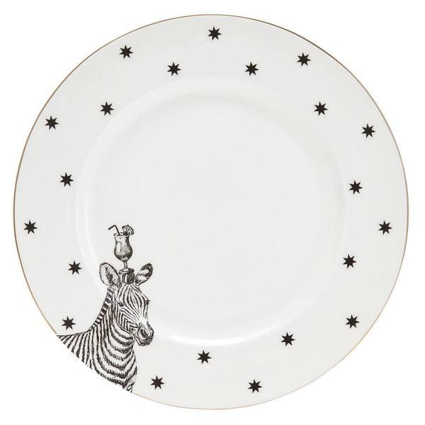 Yvonne Ellen Monochroom Zebra en cocktails dinerbord